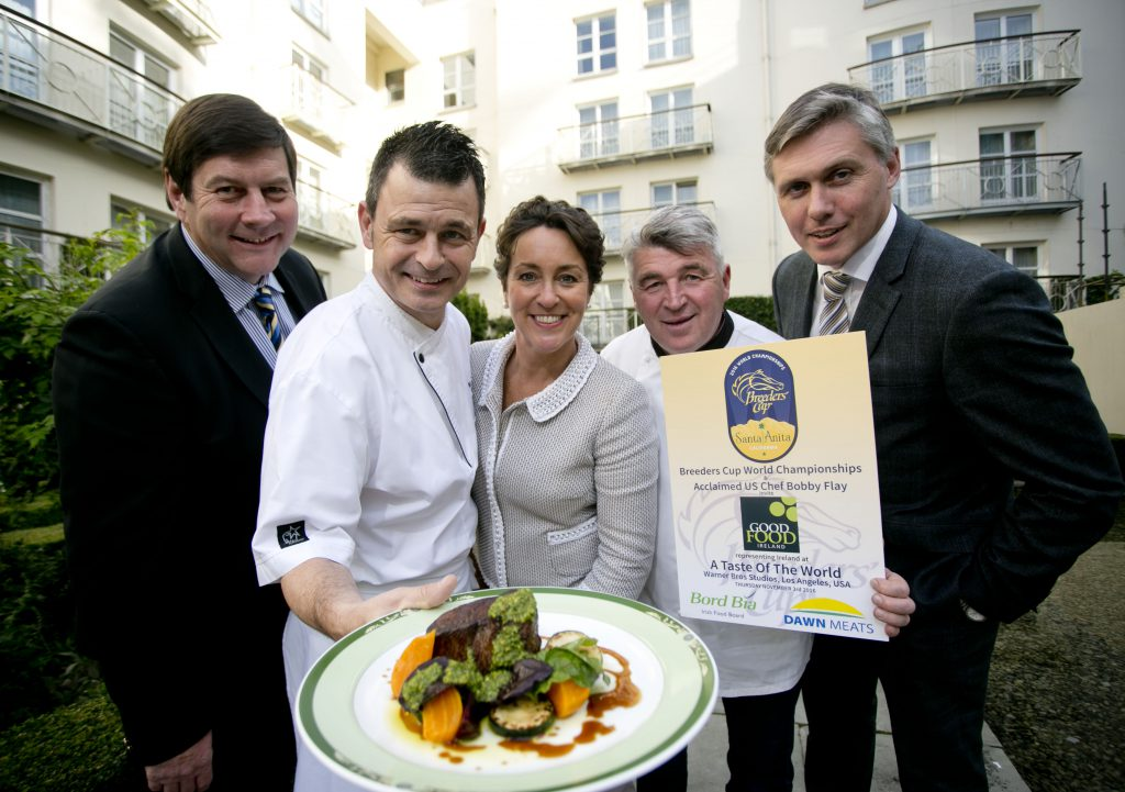 Award winning Irish chefs' Ed Cooney, The Merrion Hotel, Dublin and Martin Shanahan, Fishy Fishy, Kinsale join (from l-r) Paul Nolan, Dawn Meats, Margaret Jeffares, Good Food Ireland and Padraig Brennan, Bord Bia at the launch of Irish beef's participation at the Breeders Cup in California.