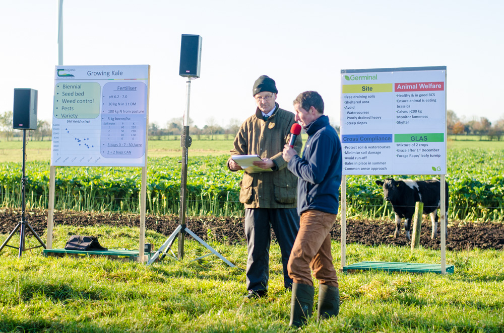 Germinal Ireland's Jim Gibbons (left) and Richie Daly (right) speaking at today's farm walk