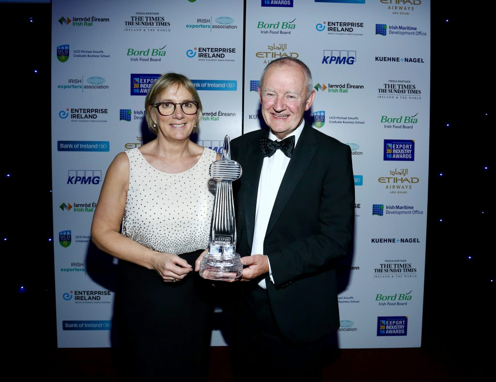 Julie Sinnamon, CEO, Enterprise Ireland with Michael Burke, founder and managing director, Chanelle Group at the Irish Exporter of the Year Awards 2016