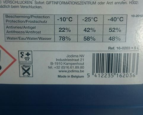 The ratios at which to mix antifreeze and water which offers different levels of protection