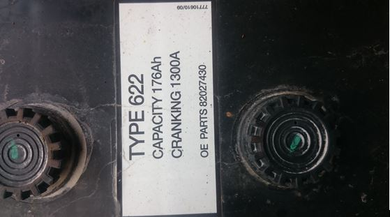 Label on a tractor battery