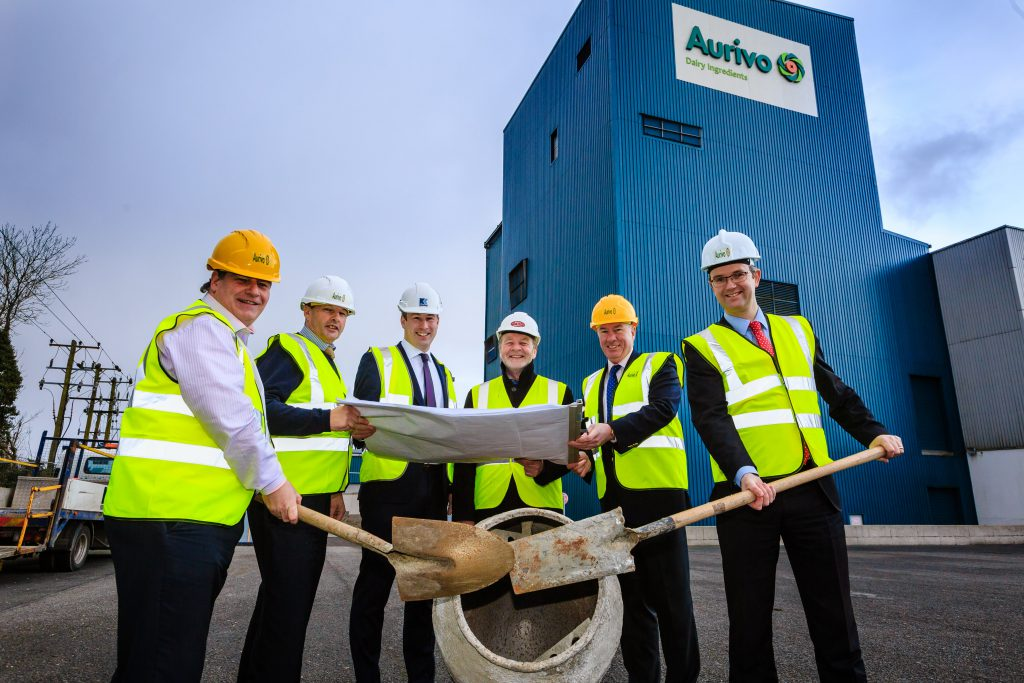 Pictured L-R - Willie Murphy (Head of Operations, Aurivo) David Hickey (Site Manager Aurivo), Seamus Kenny (Kenaidan Contractors Ltd), Eugene Waldron (Waldron & Associates), Aaron Forde (CEO Aurivo), Eoghan Sweeney (General Manager, Aurivo Dairy Ingredients and Consumer Foods).