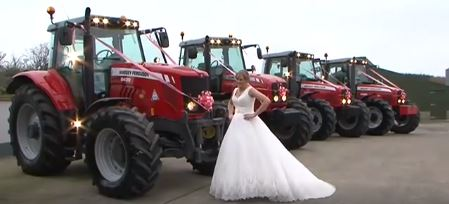 Video: Farming mad bride drives to her own wedding in a Massey Ferguson