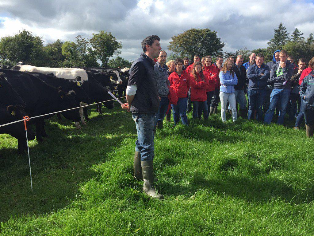 Sean O'Donnell speaking at a farm walk on his farm