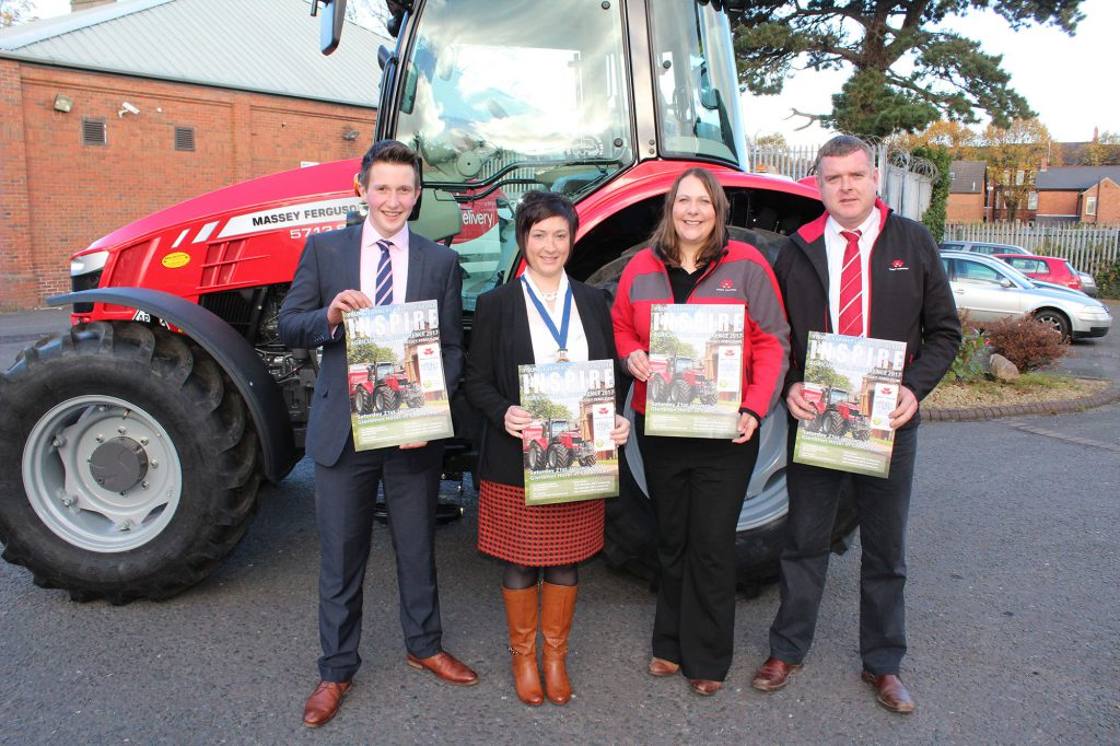 (L-R) are: Sean McAvoy, Massey Ferguson; Roberta Simmons, President YFCU; Lindsay Haddon, Massey Ferguson and Robert McConaghy, Chairman YFCU agriculture and rural affairs committee.