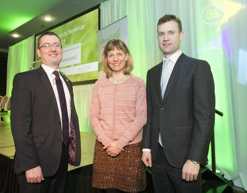 Pictured were (L-),Jim O'Toole (Bord Bia),Dr. Carrie Ruxton (Meat Advisory Panel, UK) and Adrian Gahan (Sancroft, UK).Photo:michaelorourkephotography.ie