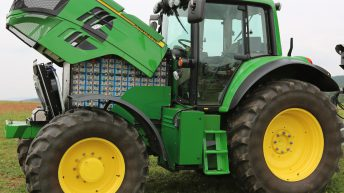 Electric John Deere tractor runs for 4 hours on a charge