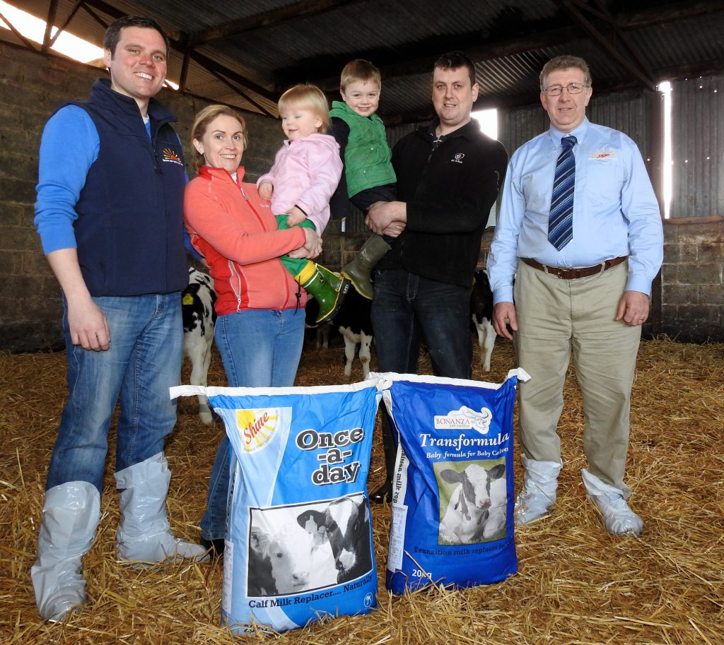 Paul Conroy of Conroy Agri Supplies, Nigel Worrell and Vanessa with children Chloe and Evan, with Joe Murphy of Bonanza Calf Nutrition