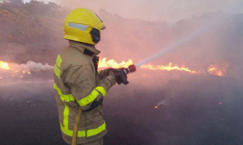 Firefighters battle gorse fires over the weekend, as high risk warning remains in place