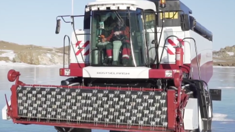 Video: Watch a high-powered tractor and combine 'skating' on ice