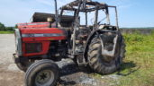 Pics: Tractor engulfed in flames while drawing in bales