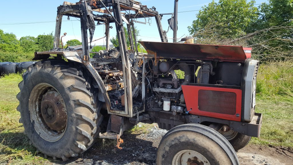 tractor, fire