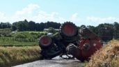 Pic: Driver uninjured as tractor and slurry tanker overturn