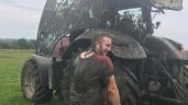 Pics: Tractor cab destroyed in slurry tanker mishap
