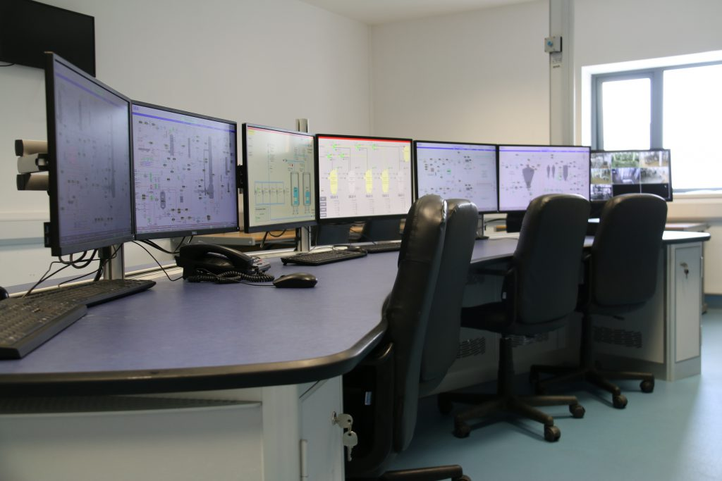 The 'brain' of the plant where computers showing hundreds of measurements and CCTV are used to monitor the machines at LacPatrick's Dairy Technology Centre