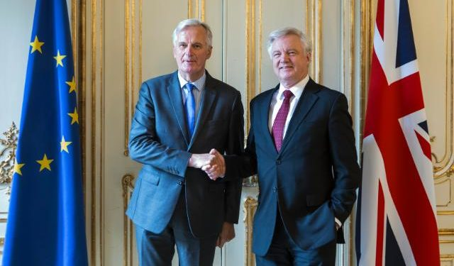 Davis and Barnier pictured at the fifth round of Brexit negotiations has. Picture sourced from the European Commission