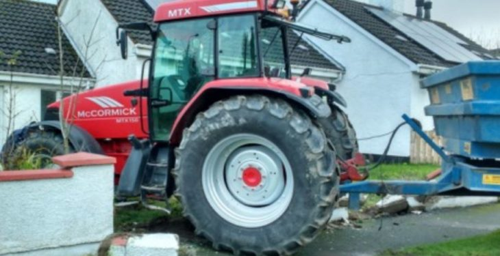Pics: Tractor ends up in pensioner's garden after crashing through wall