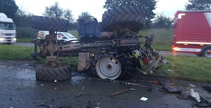 Pics: Tractor, combine and van involved in bizarre three-vehicle crash
