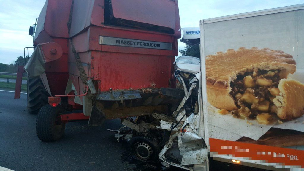A tractor and combine harvester were involved in a crash in Derbyshire, England.