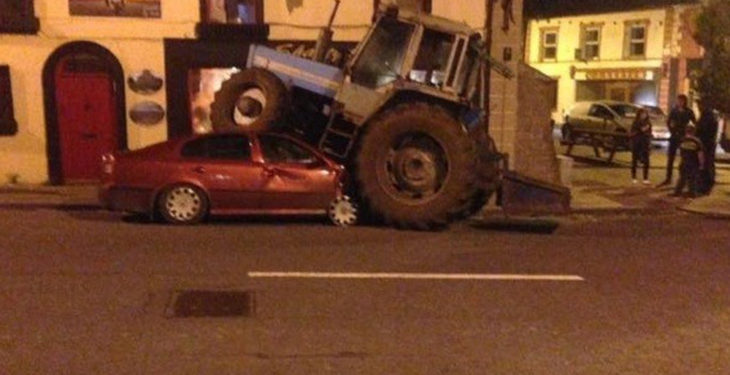 Drunk tractor driver fined and disqualified for 'crushing' parked car