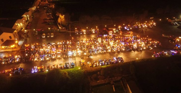Video: Farmers out in force for Christmas lights vehicle parades