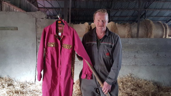 Dairy farmer to 'Embrace' pink and leopard-print overalls for Valentine's