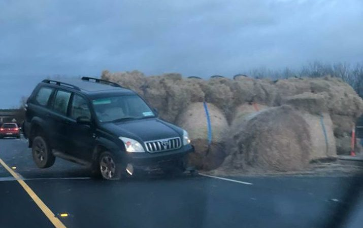 Collision and hay spill on major motorway