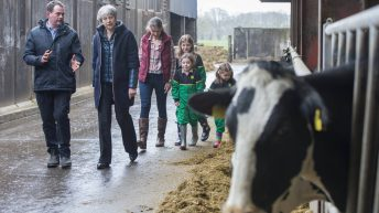 Pics: Theresa May lands on Co. Down dairy farm for Brexit tour