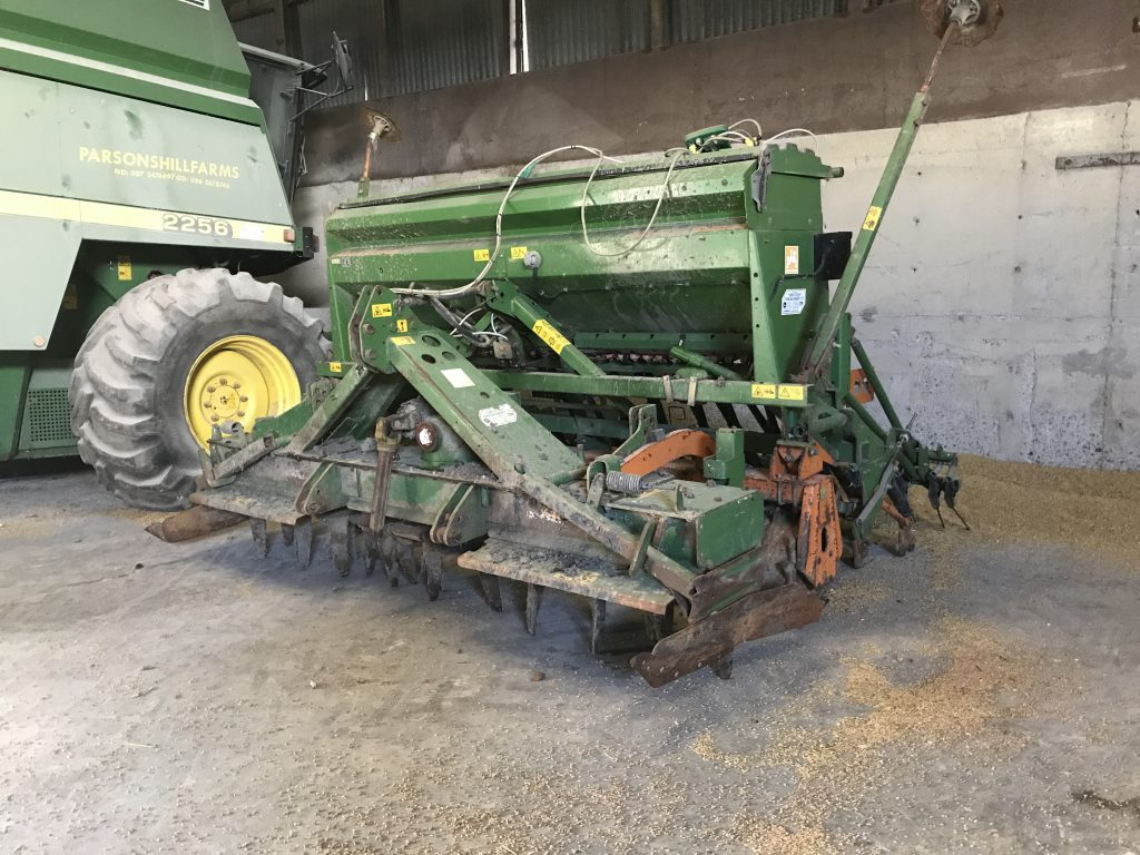 The seed drill has yet to be moved this spring