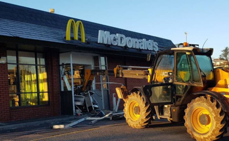 JCB smashed into McDonalds restaurant in Limerick