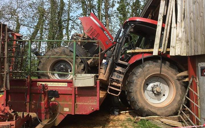 Pics: UK driver has lucky escape from runaway tractor