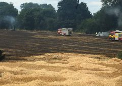 Field of straw engulfed in 'extensive fire'