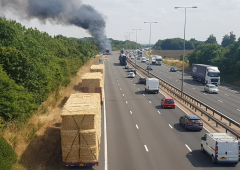 Lorry transporting bales goes up in smoke on UK motorway