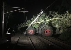 Tractor crashes onto UK rail line blocking major routes