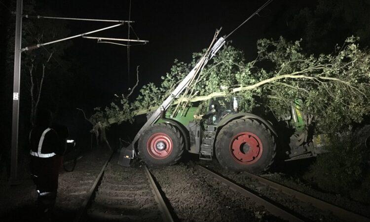 Tractor crashes onto UK rail line blocking major routes