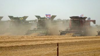 New world record set: 303 combine harvesters 'rumble down the fields'