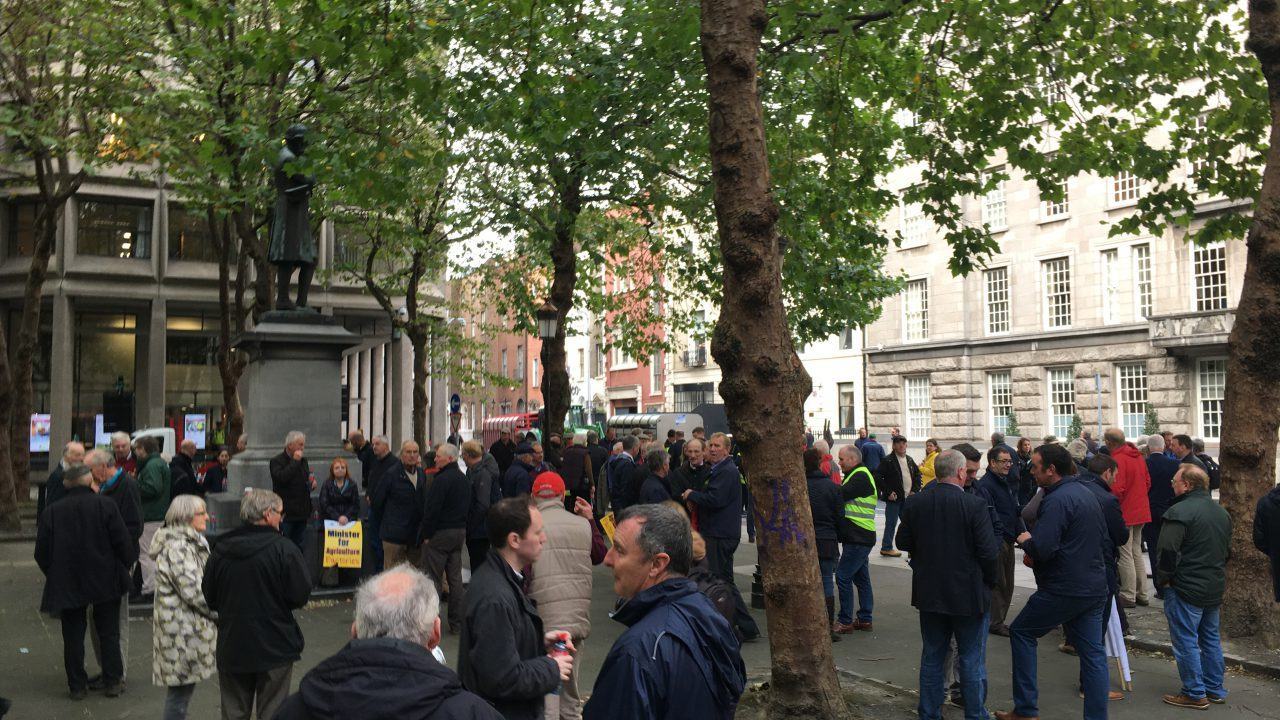 Pics: Approximately 300 farmers protesting outside Beef Forum