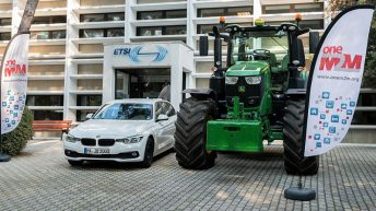 This tractor can 'warn' car drivers of its presence on the road – from 1km away