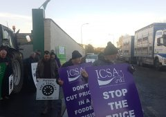 ICSA farmers block gates of Dawn Meats plant