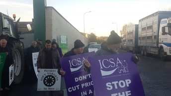 ICSA farmers block gates of Dawn Meats plant