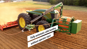 An all-electric John Deere that needs no big battery; just a clever 'extension cord'