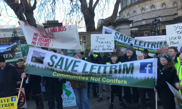 Video: 'Trees are replacing people' – Save Leitrim protests outside Dail