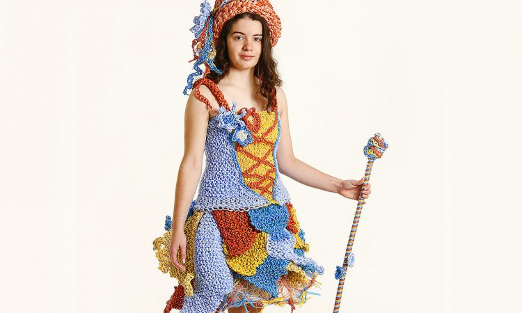 Meath student creates Junk Kouture dress from baling twine