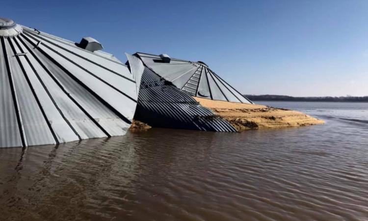 Video: US grain bins collapse under catastrophic Iowa floods