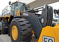 John Deere construction equipment on its way to Europe