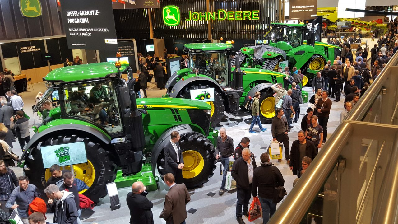 How many tractors of each brand were sold in April?