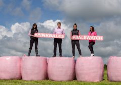 Limited-edition pink silage wrap on sale for Breast Cancer Ireland research