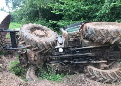 Firefighters rescue UK farmer from overturned tractor