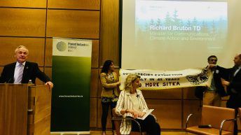 Climate activists 'bark up Bruton's tree' at forestry event