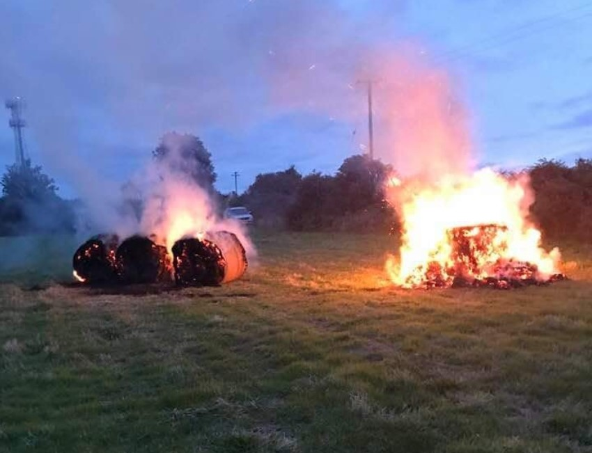 Gardaí investigate hay bales 'burnt by youths'